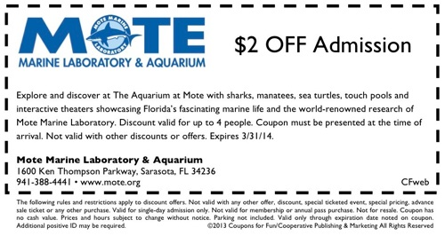 Mote Marine Aquarium Coupons. Take Advantage of Low Admission Rates With Mote Marine Aquarium Coupons. The Best of Mote Marine Aquarium. Famed for its aquatic and marine research facilities, the Monte Marine Laboratory, as it is often referred to, is .